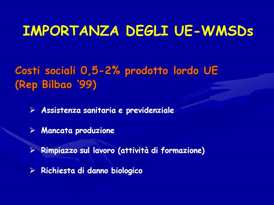 IMPORTANZA DEGLI UE-WMSDs Costi sociali 0,5-2% prodotto lordo UE (Rep Bilbao 99) Assistenza sanitaria e previdenziale Mancata produzione Rimpiazzo sul