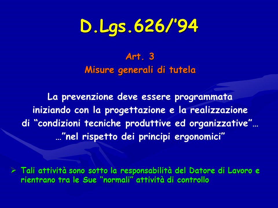 D.Lgs.626/94 Art. 3 Misure generali di tutela La prevenzione deve essere programmata iniziando con la progettazione e la realizzazione di condizioni t