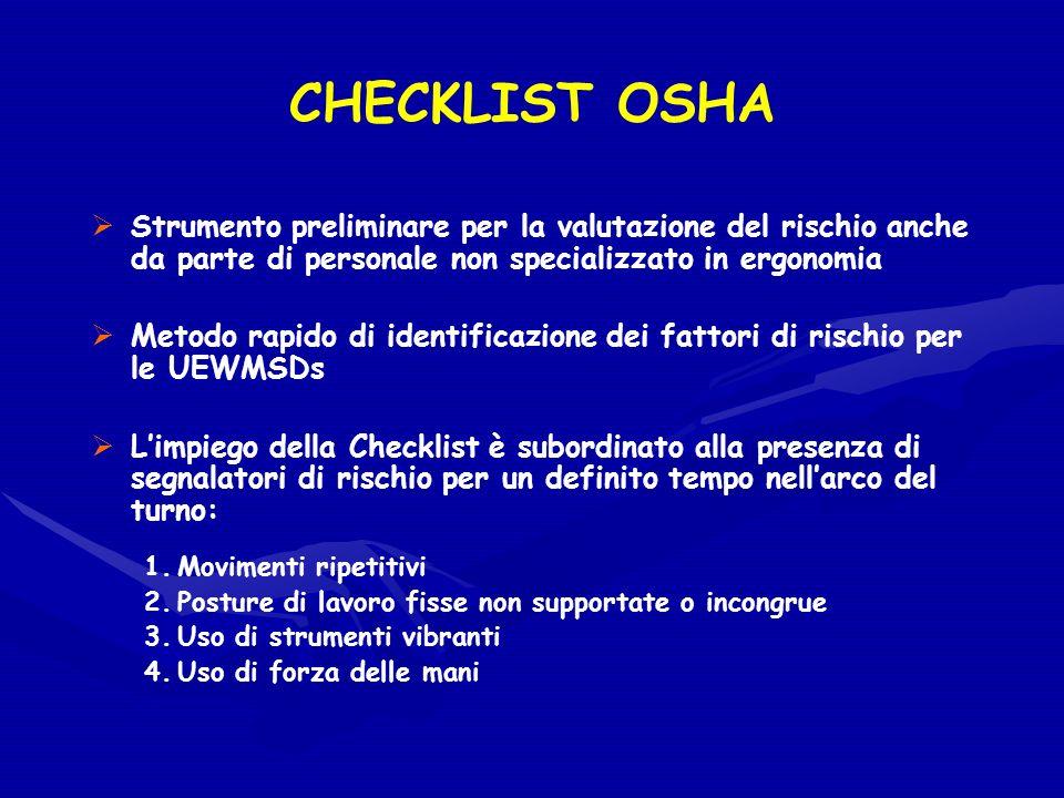 CHECKLIST OSHA Strumento preliminare per la valutazione del rischio anche da parte di personale non specializzato in ergonomia Metodo rapido di identi