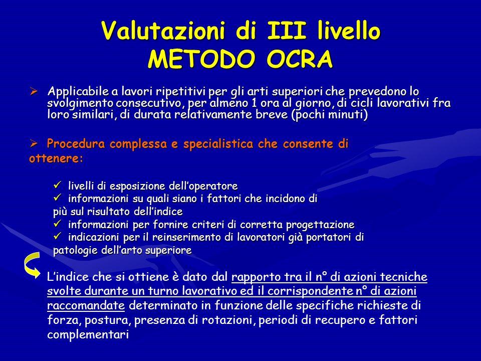 Valutazioni di III livello METODO OCRA Applicabile a lavori ripetitivi per gli arti superiori che prevedono lo svolgimento consecutivo, per almeno 1 o