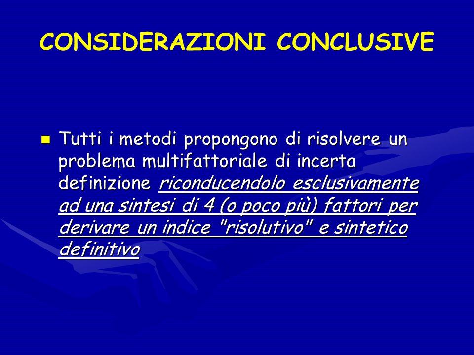 CONSIDERAZIONI CONCLUSIVE Tutti i metodi propongono di risolvere un problema multifattoriale di incerta definizione riconducendolo esclusivamente ad u