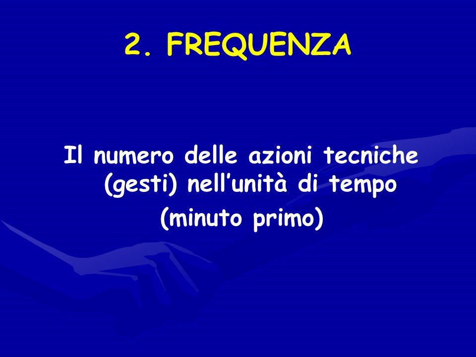 2. FREQUENZA Il numero delle azioni tecniche (gesti) nellunità di tempo (minuto primo)