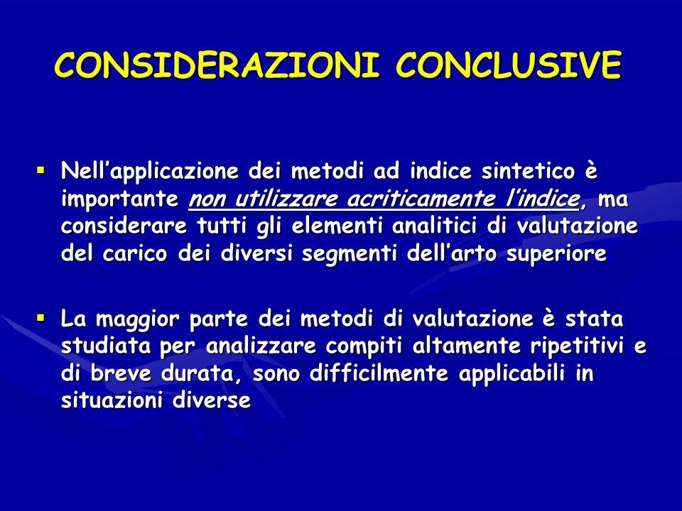 CONSIDERAZIONI CONCLUSIVE Nellapplicazione dei metodi ad indice sintetico è importante non utilizzare acriticamente lindice, ma considerare tutti gli