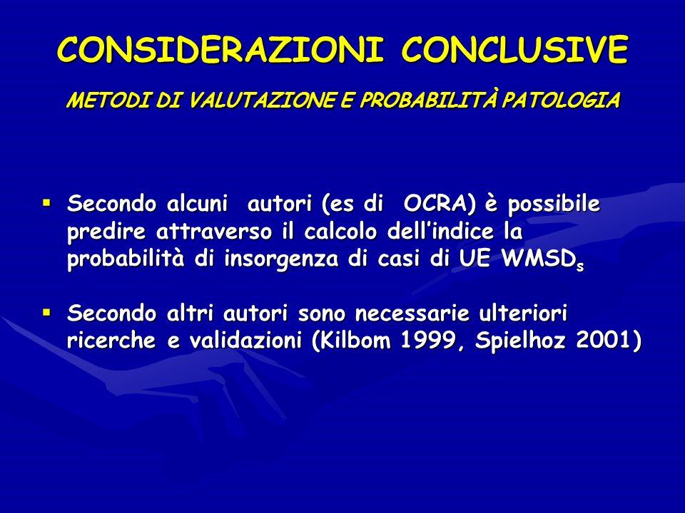 CONSIDERAZIONI CONCLUSIVE METODI DI VALUTAZIONE E PROBABILITÀ PATOLOGIA Secondo alcuni autori (es di OCRA) è possibile predire attraverso il calcolo d