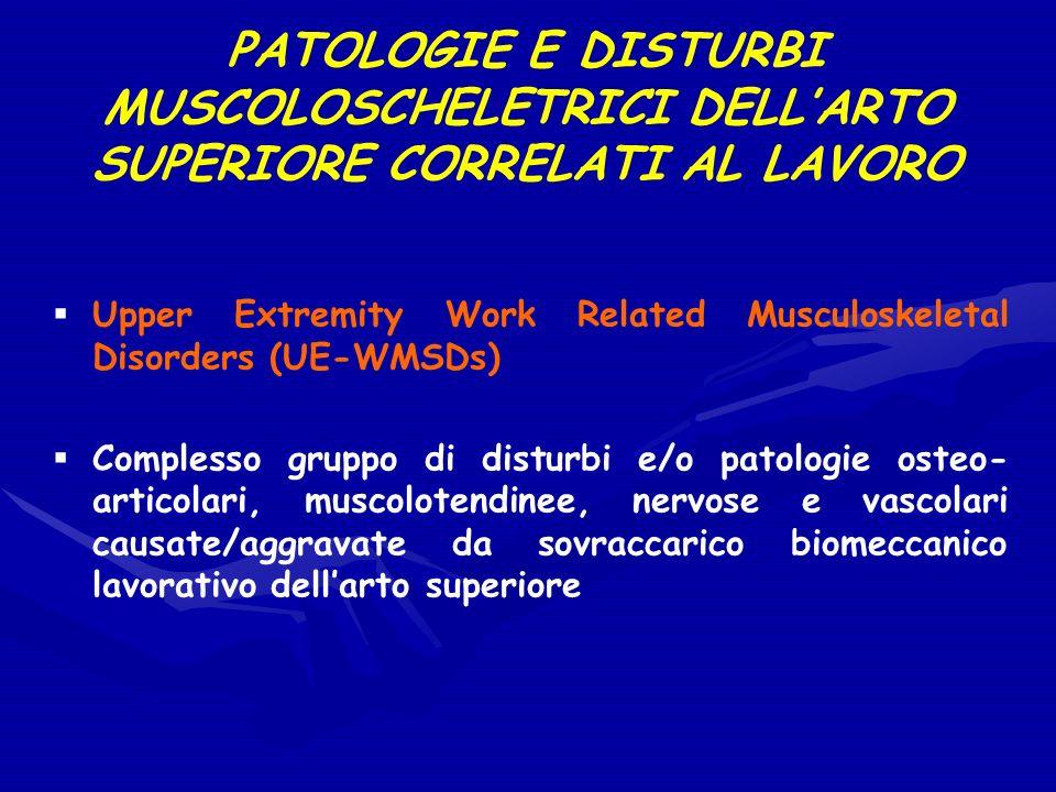 PATOLOGIE E DISTURBI MUSCOLOSCHELETRICI DELLARTO SUPERIORE CORRELATI AL LAVORO Upper Extremity Work Related Musculoskeletal Disorders (UE-WMSDs) Compl