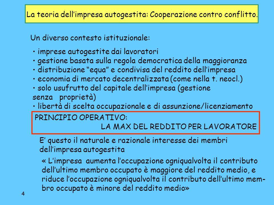 4 La teoria dellimpresa autogestita: Cooperazione contro conflitto.