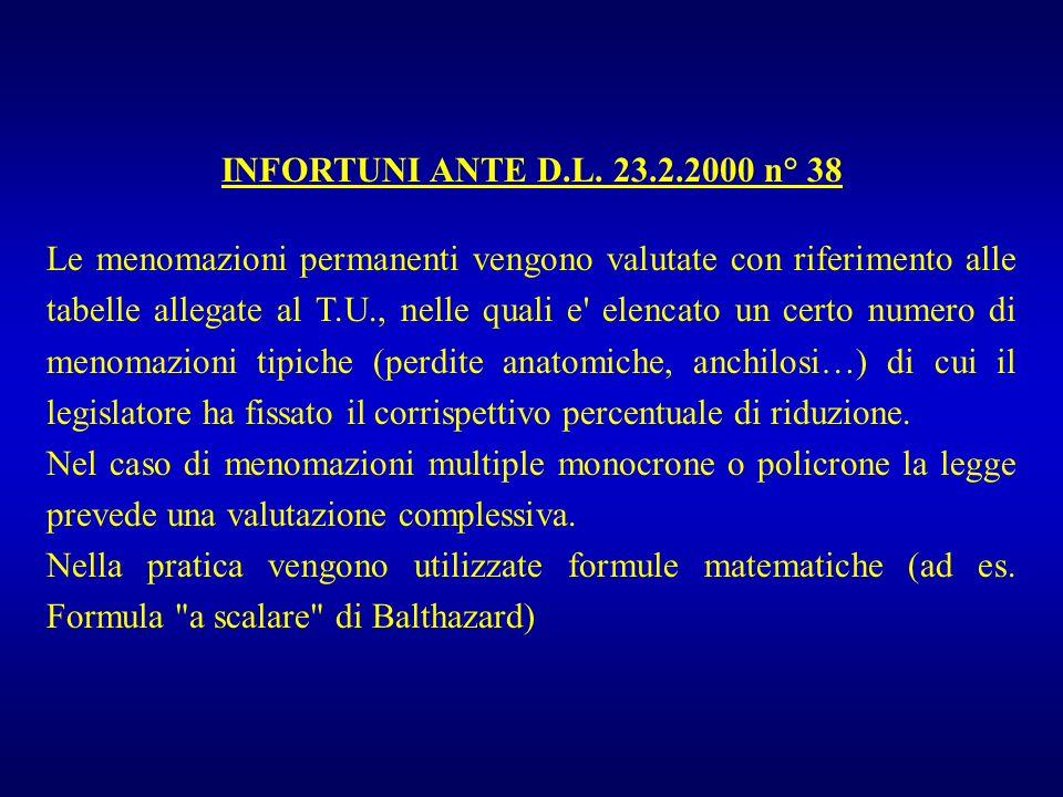 INFORTUNI ANTE D.L. 23.2.2000 n° 38 Le menomazioni permanenti vengono valutate con riferimento alle tabelle allegate al T.U., nelle quali e' elencato