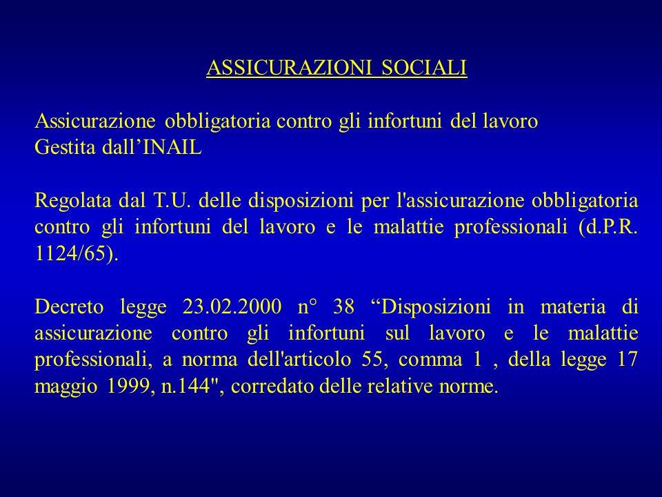 ASSICURAZIONI SOCIALI Assicurazione obbligatoria contro gli infortuni del lavoro Gestita dallINAIL Regolata dal T.U. delle disposizioni per l'assicura