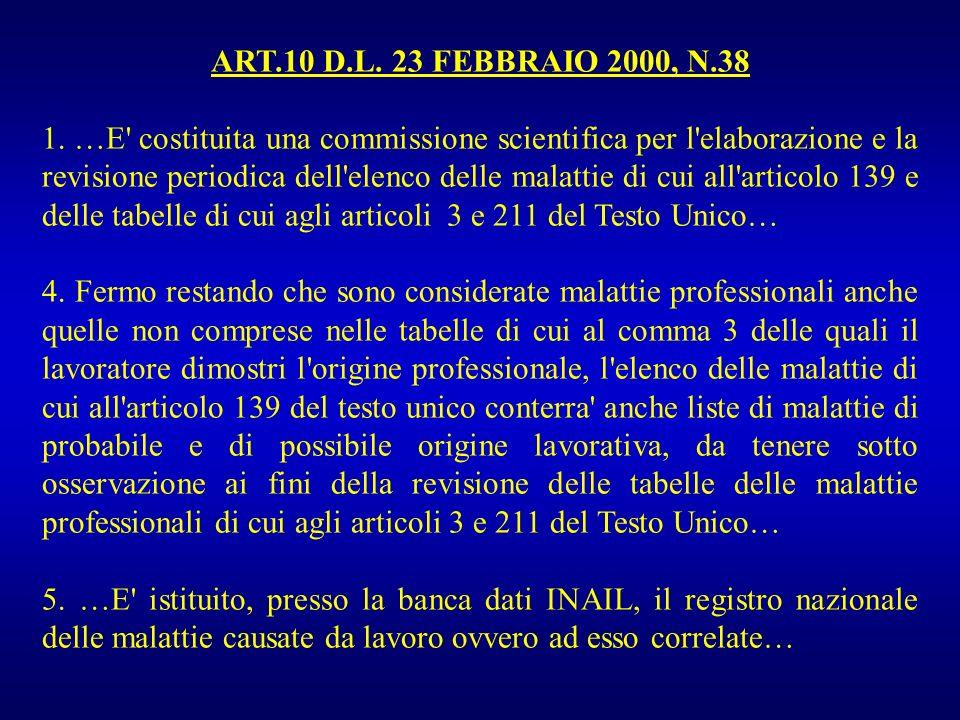 ART.10 D.L. 23 FEBBRAIO 2000, N.38 1. …E' costituita una commissione scientifica per l'elaborazione e la revisione periodica dell'elenco delle malatti