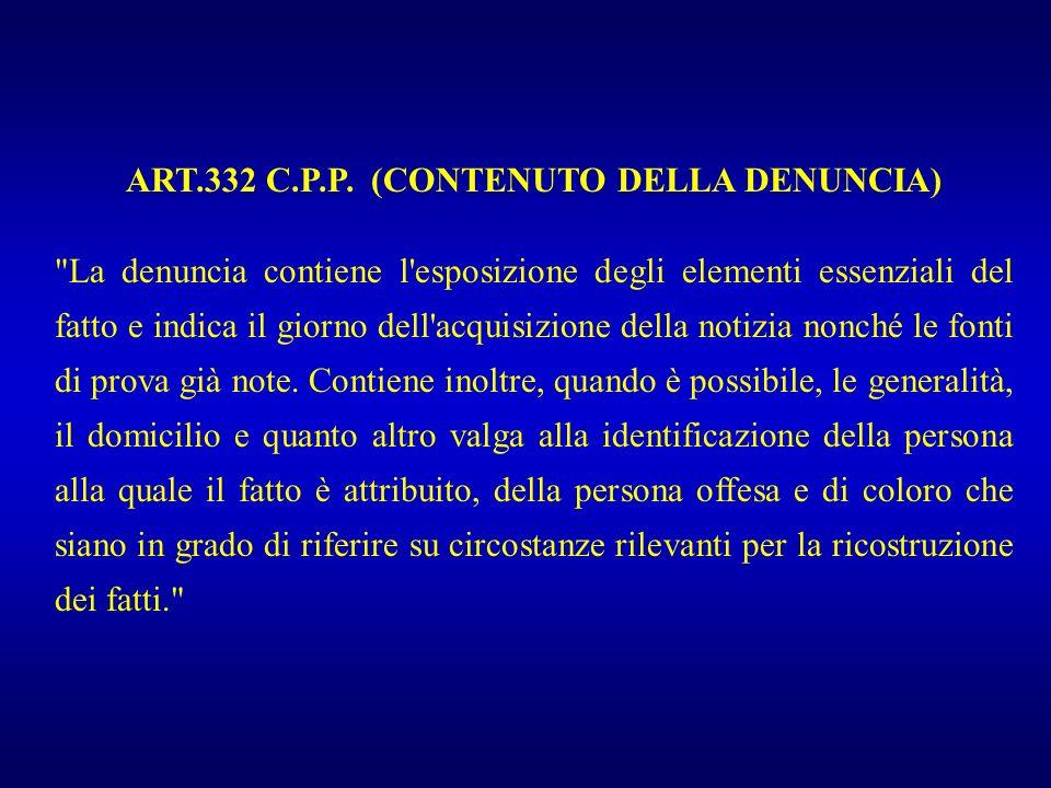 REFERTO E DENUNCIA Referto Art.365 C.P. Art. 334 C.P.P.