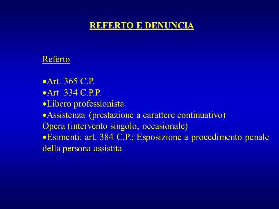 REFERTO E DENUNCIA Denuncia Art.331 C.P.P. Art. 332 C.P.P.