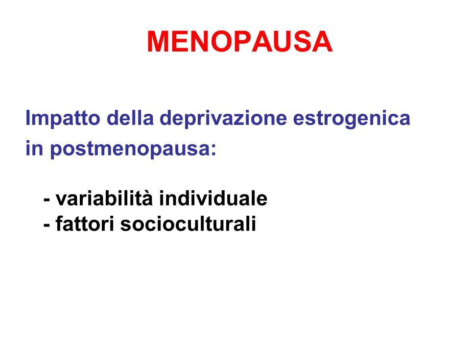 MENOPAUSA Impatto della deprivazione estrogenica in postmenopausa: - variabilità individuale - fattori socioculturali