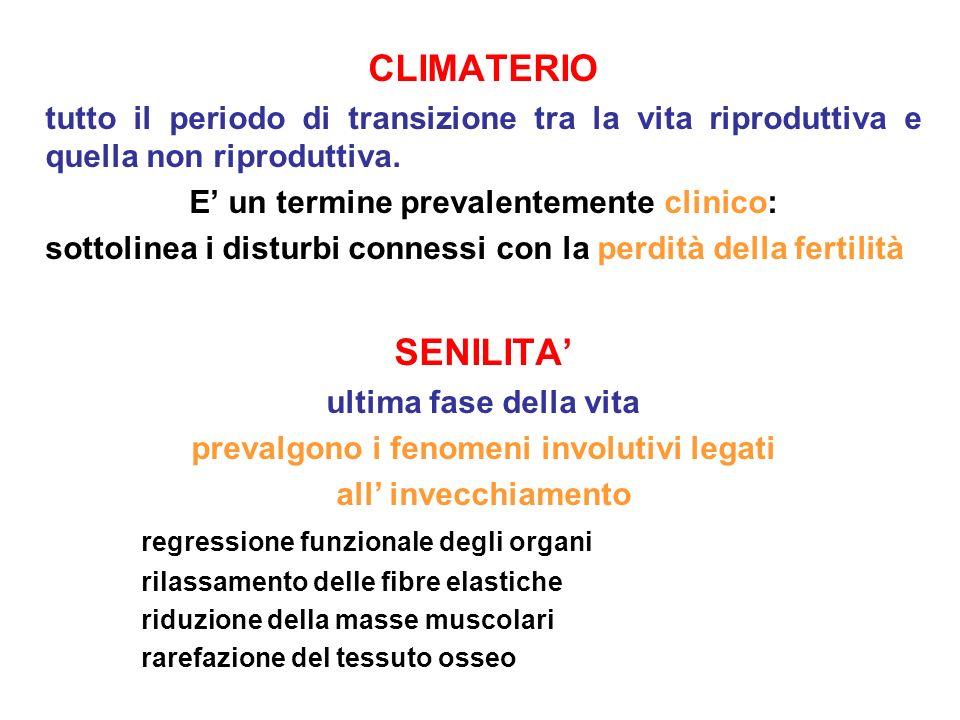 CLIMATERIO tutto il periodo di transizione tra la vita riproduttiva e quella non riproduttiva. E un termine prevalentemente clinico: sottolinea i dist