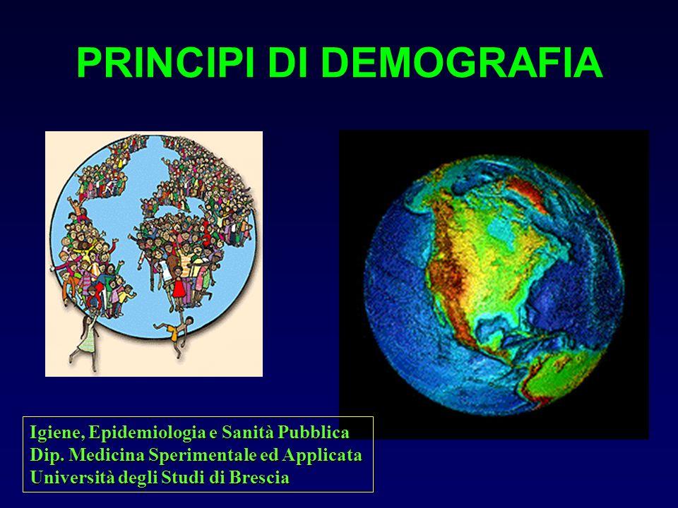 PRINCIPI DI DEMOGRAFIA Igiene, Epidemiologia e Sanità Pubblica Dip. Medicina Sperimentale ed Applicata Università degli Studi di Brescia