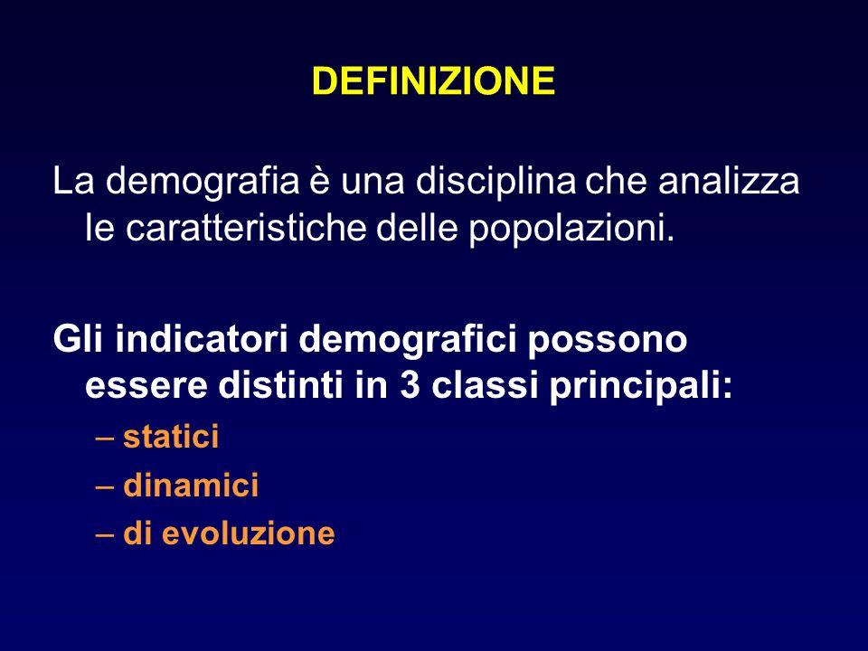 DEFINIZIONE La demografia è una disciplina che analizza le caratteristiche delle popolazioni. Gli indicatori demografici possono essere distinti in 3