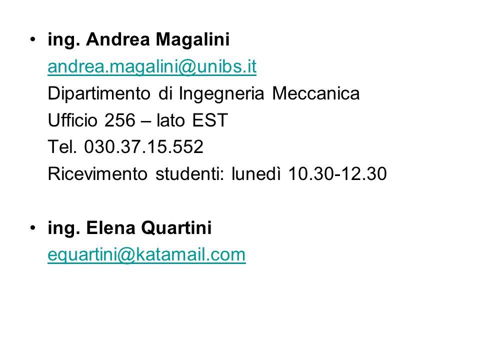 ing. Andrea Magalini andrea.magalini@unibs.it Dipartimento di Ingegneria Meccanica Ufficio 256 – lato EST Tel. 030.37.15.552 Ricevimento studenti: lun