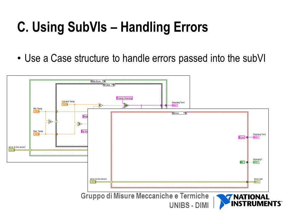 Gruppo di Misure Meccaniche e Termiche UNIBS - DIMI C. Using SubVIs – Handling Errors Use a Case structure to handle errors passed into the subVI 15