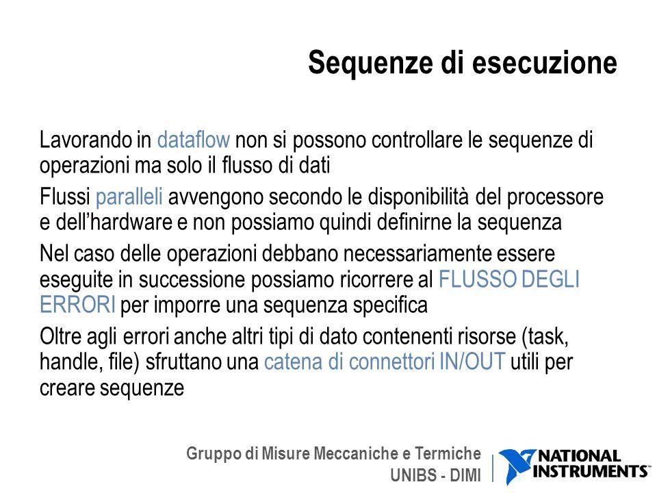Gruppo di Misure Meccaniche e Termiche UNIBS - DIMI Sequenze di esecuzione Lavorando in dataflow non si possono controllare le sequenze di operazioni