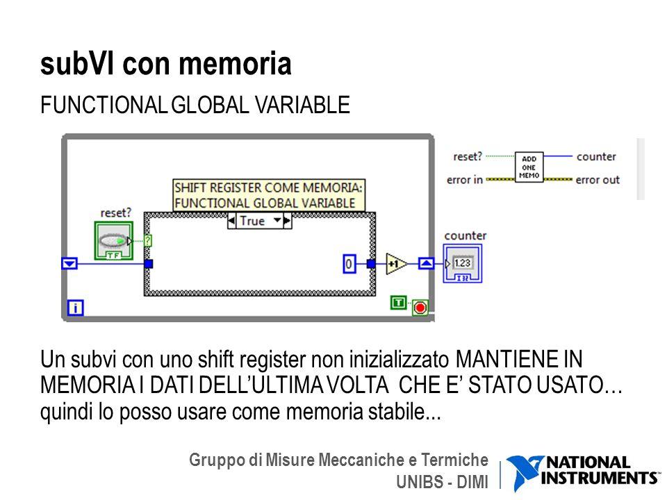 Gruppo di Misure Meccaniche e Termiche UNIBS - DIMI subVI con memoria FUNCTIONAL GLOBAL VARIABLE Un subvi con uno shift register non inizializzato MAN