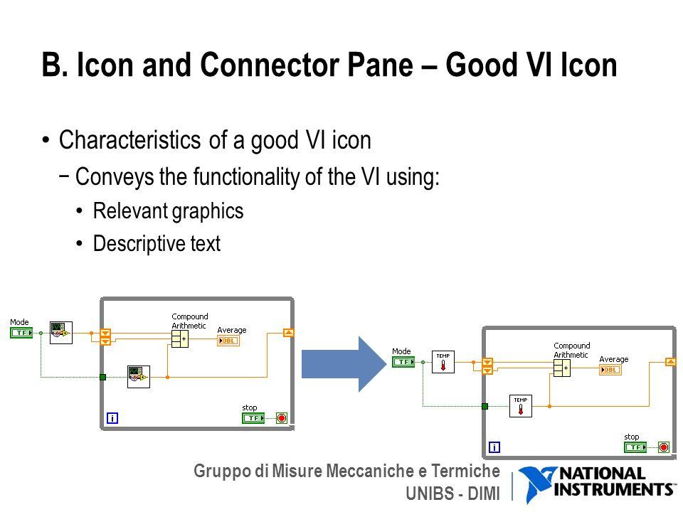 Gruppo di Misure Meccaniche e Termiche UNIBS - DIMI B. Icon and Connector Pane – Good VI Icon Characteristics of a good VI icon Conveys the functional
