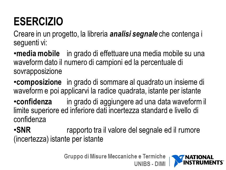 Gruppo di Misure Meccaniche e Termiche UNIBS - DIMI ESERCIZIO Creare in un progetto, la libreria analisi segnale che contenga i seguenti vi: media mob