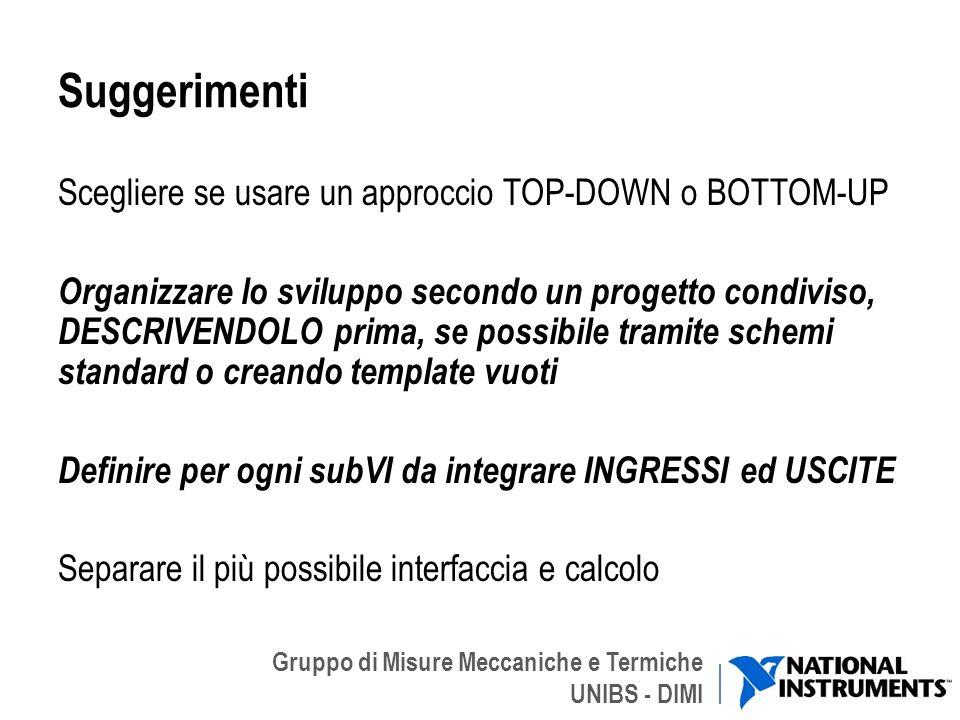 Gruppo di Misure Meccaniche e Termiche UNIBS - DIMI Suggerimenti Scegliere se usare un approccio TOP-DOWN o BOTTOM-UP Organizzare lo sviluppo secondo
