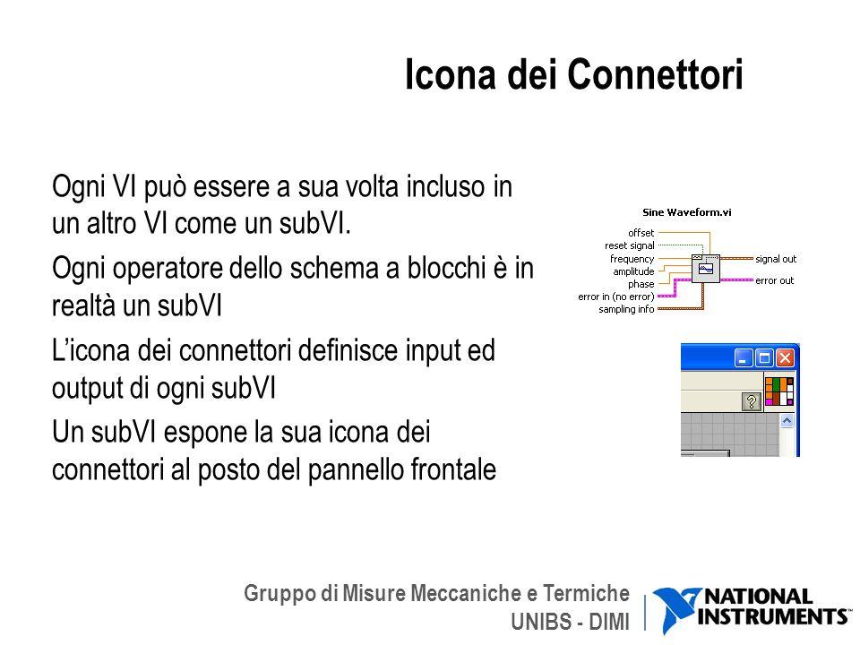 Gruppo di Misure Meccaniche e Termiche UNIBS - DIMI Icona dei Connettori Ogni VI può essere a sua volta incluso in un altro VI come un subVI. Ogni ope