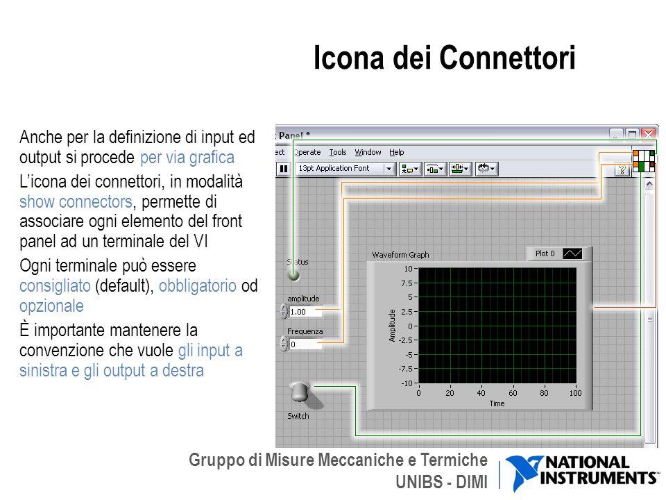 Gruppo di Misure Meccaniche e Termiche UNIBS - DIMI Icona dei Connettori Anche per la definizione di input ed output si procede per via grafica Licona