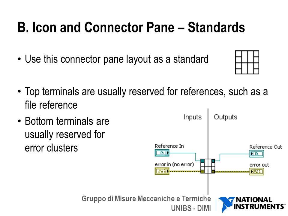 Gruppo di Misure Meccaniche e Termiche UNIBS - DIMI B. Icon and Connector Pane – Standards Use this connector pane layout as a standard Top terminals