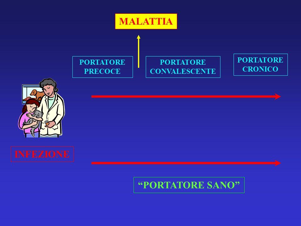 INFEZIONE MALATTIA PORTATORE PRECOCE PORTATORE SANO PORTATORE CONVALESCENTE PORTATORE CRONICO