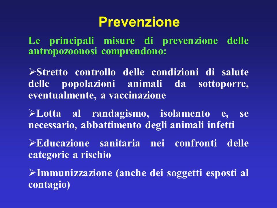 Prevenzione Le principali misure di prevenzione delle antropozoonosi comprendono: Stretto controllo delle condizioni di salute delle popolazioni anima