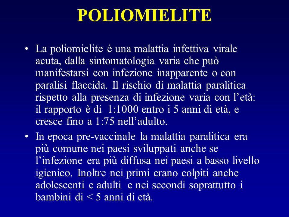 POLIOMIELITE La poliomielite è una malattia infettiva virale acuta, dalla sintomatologia varia che può manifestarsi con infezione inapparente o con paralisi flaccida.