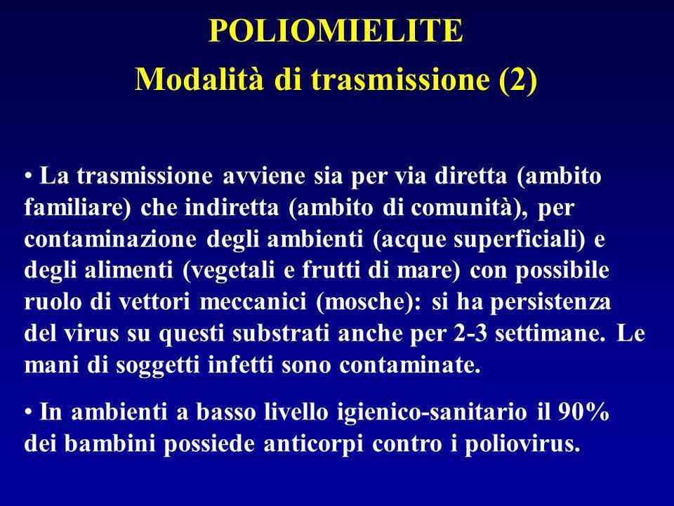 POLIOMIELITE: Accertamento diagnostico I poliovirus si possono isolare da tampone faringeo o dalle feci, incubando in colture cellulari e identificando mediante sieri immuni specifici.