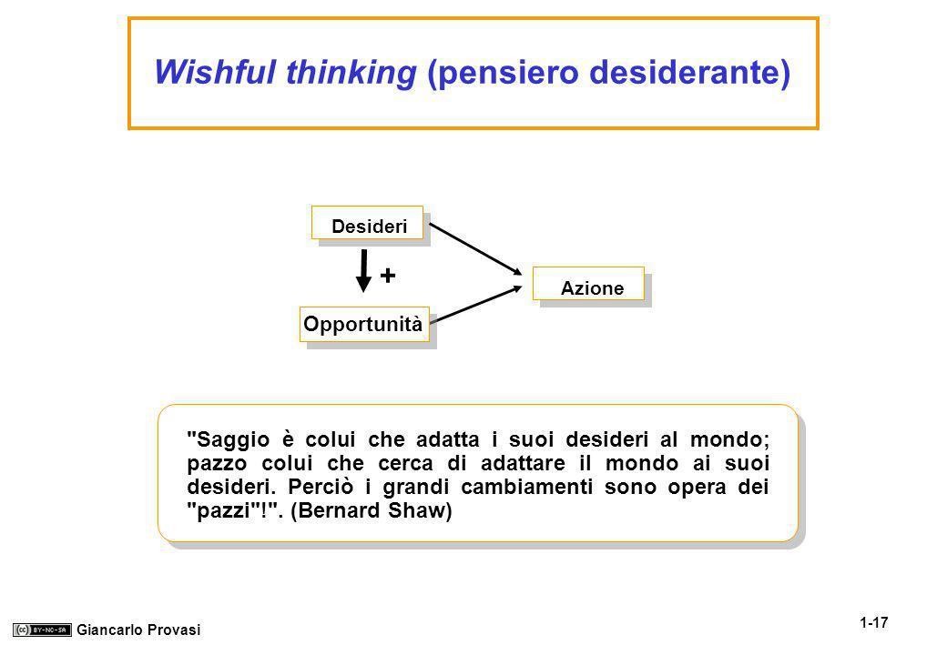1-17 Giancarlo Provasi Wishful thinking (pensiero desiderante) + Saggio è colui che adatta i suoi desideri al mondo; pazzo colui che cerca di adattare il mondo ai suoi desideri.