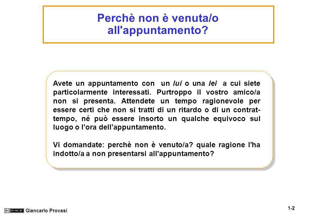 1-2 Giancarlo Provasi Perchè non è venuta/o all'appuntamento? Avete un appuntamento con un lui o una lei a cui siete particolarmente interessati. Purt