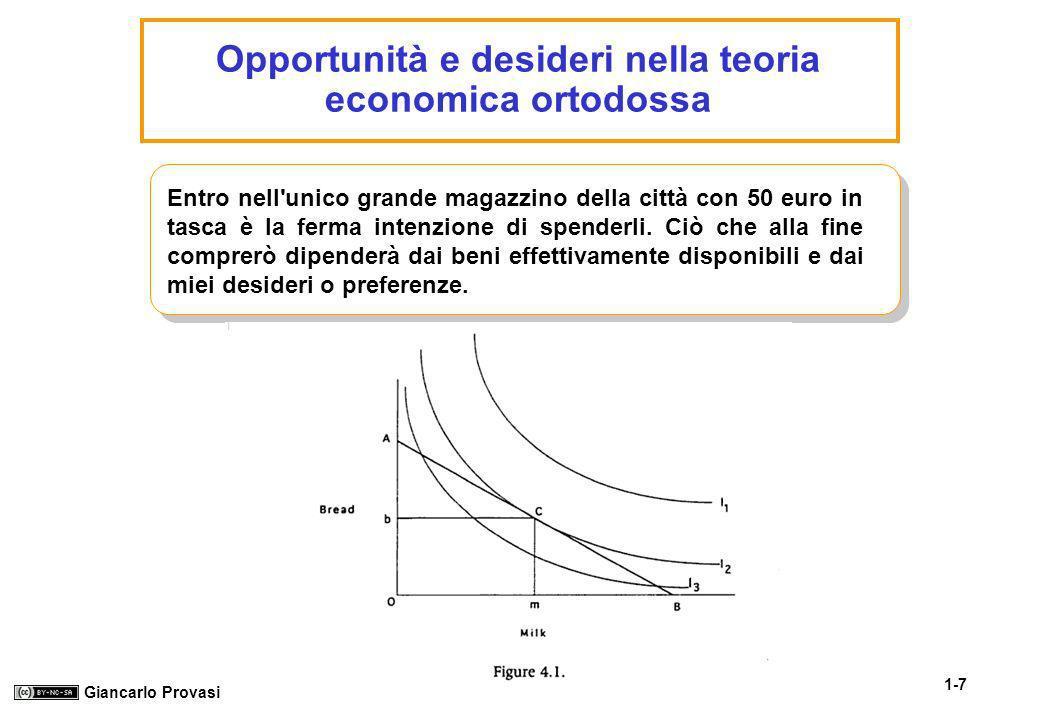 1-7 Giancarlo Provasi Opportunità e desideri nella teoria economica ortodossa Entro nell'unico grande magazzino della città con 50 euro in tasca è la