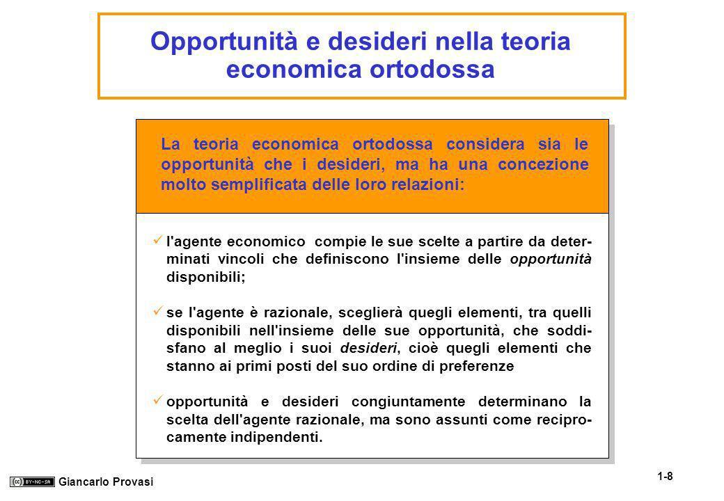 1-8 Giancarlo Provasi Opportunità e desideri nella teoria economica ortodossa La teoria economica ortodossa considera sia le opportunità che i desider
