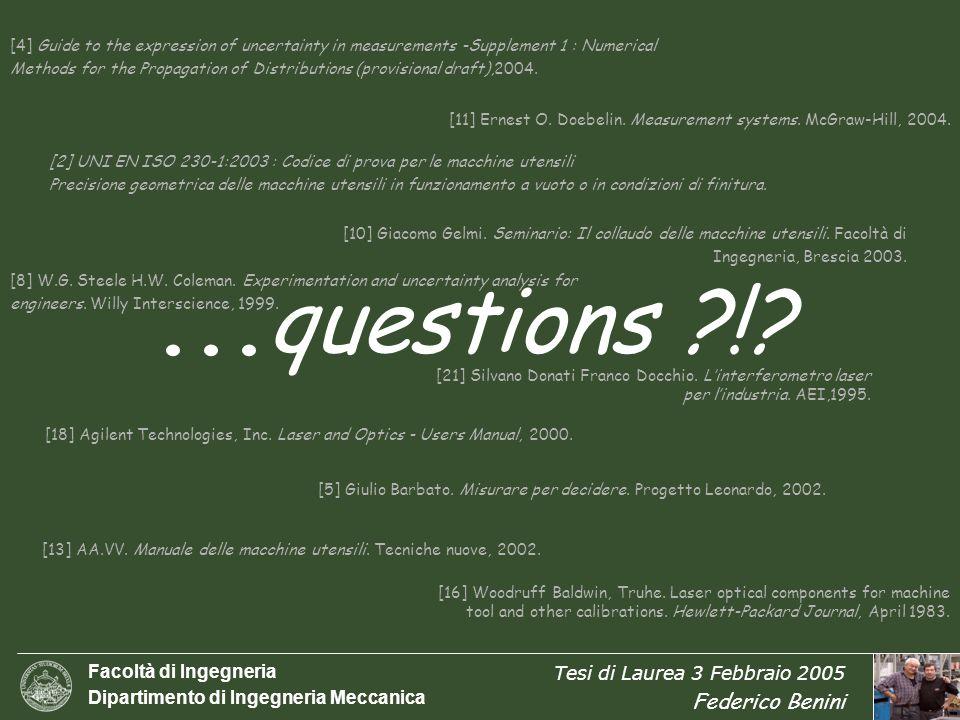 Facoltà di Ingegneria Dipartimento di Ingegneria Meccanica Tesi di Laurea 3 Febbraio 2005 Federico Benini 18/17 [2] UNI EN ISO 230-1:2003 : Codice di