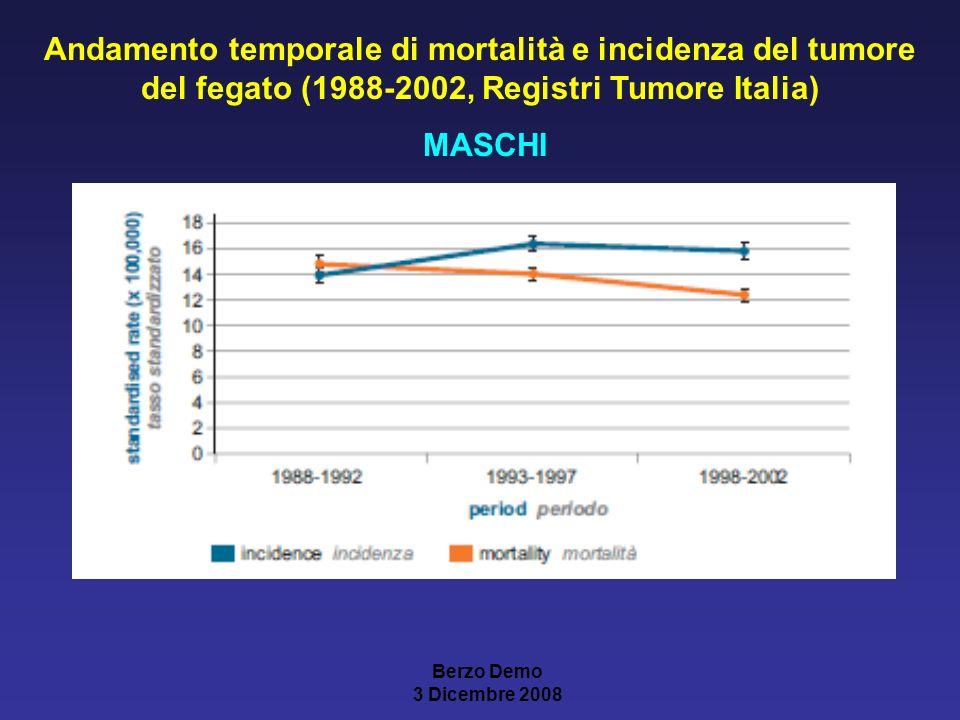 Andamento temporale di mortalità e incidenza del tumore del fegato (1988-2002, Registri Tumore Italia) MASCHI Berzo Demo 3 Dicembre 2008