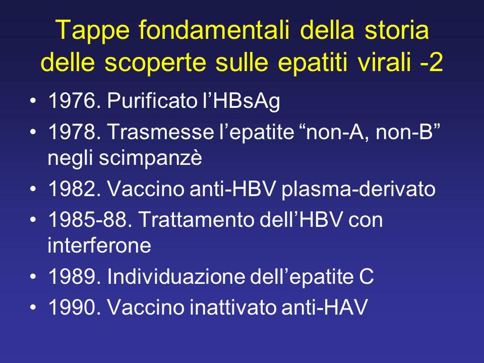 Tappe fondamentali della storia delle scoperte sulle epatiti virali -2 1976. Purificato lHBsAg 1978. Trasmesse lepatite non-A, non-B negli scimpanzè 1