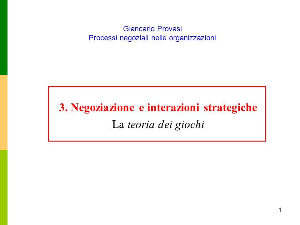 Giancarlo Provasi Processi negoziali nelle organizzazioni 1 3. Negoziazione e interazioni strategiche La teoria dei giochi