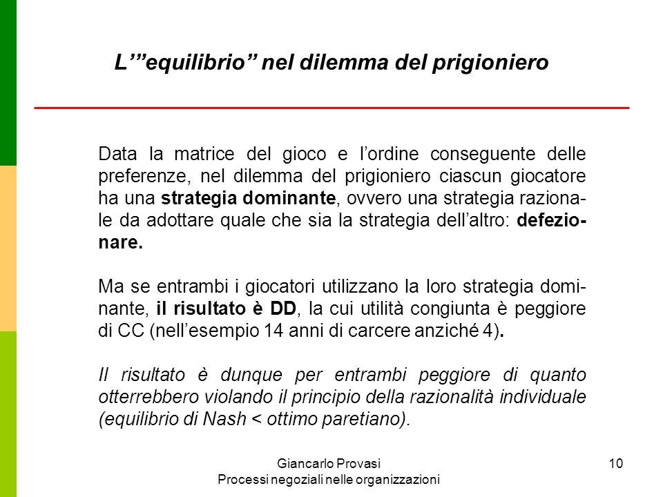 Giancarlo Provasi Processi negoziali nelle organizzazioni 10 Data la matrice del gioco e lordine conseguente delle preferenze, nel dilemma del prigion