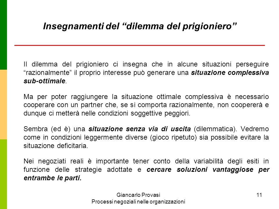 Giancarlo Provasi Processi negoziali nelle organizzazioni 11 Insegnamenti del dilemma del prigioniero Il dilemma del prigioniero ci insegna che in alc
