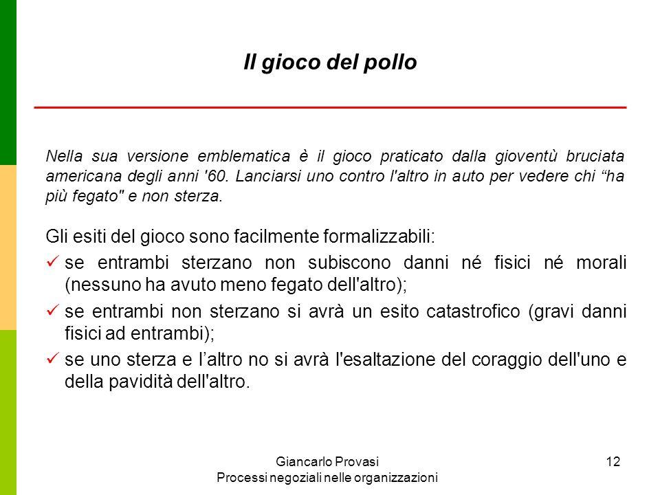 Giancarlo Provasi Processi negoziali nelle organizzazioni 12 Il gioco del pollo Gli esiti del gioco sono facilmente formalizzabili: se entrambi sterza