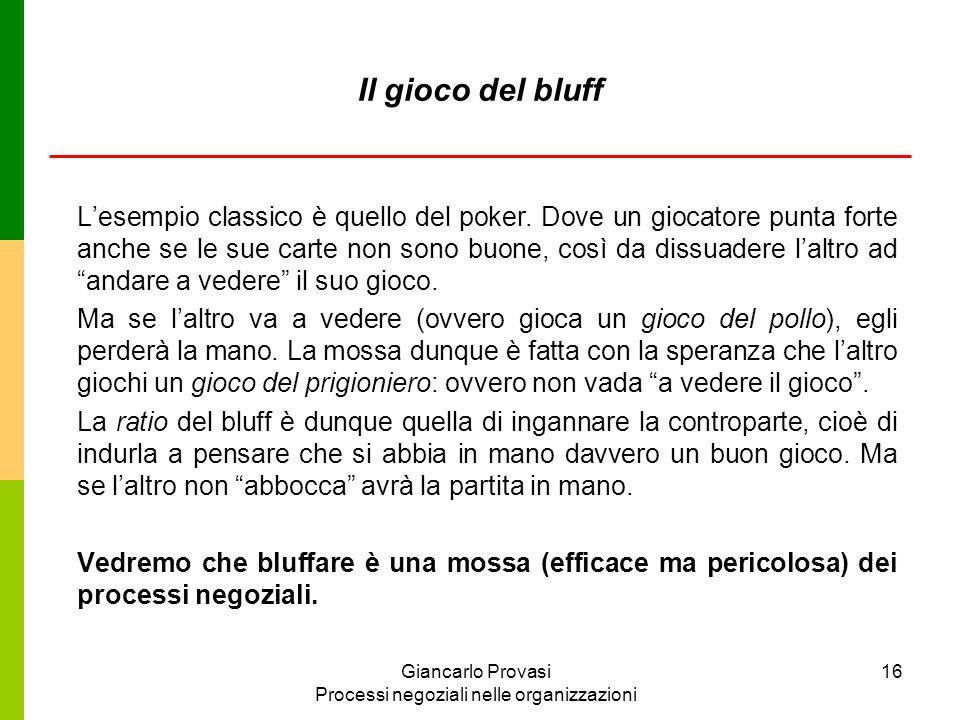 Giancarlo Provasi Processi negoziali nelle organizzazioni 16 Il gioco del bluff Lesempio classico è quello del poker. Dove un giocatore punta forte an