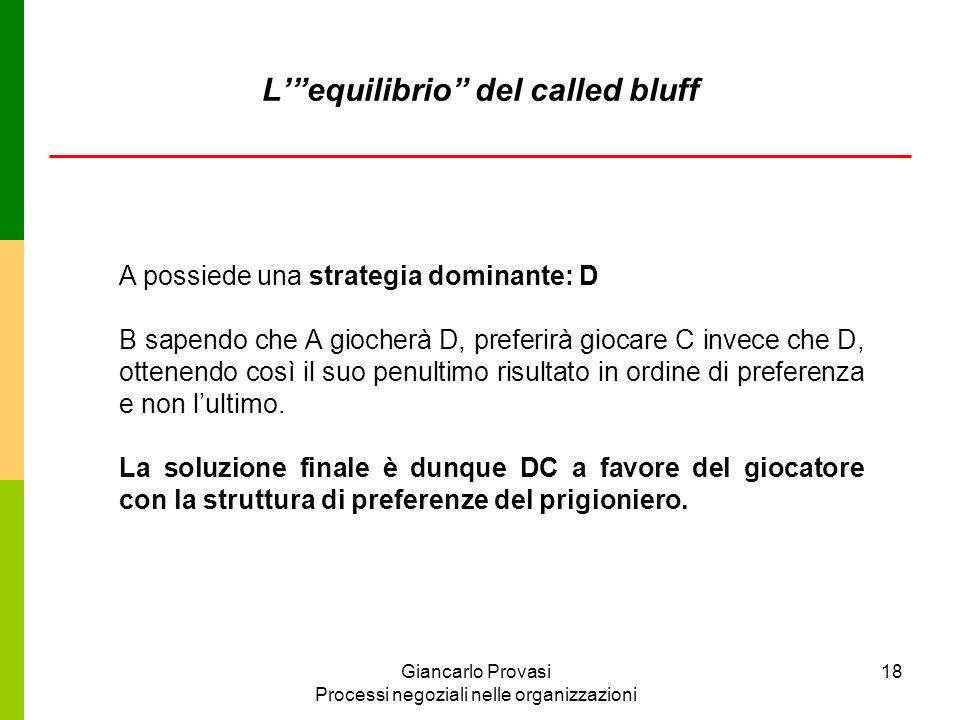 Giancarlo Provasi Processi negoziali nelle organizzazioni 18 A possiede una strategia dominante: D B sapendo che A giocherà D, preferirà giocare C inv