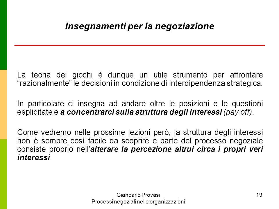 Giancarlo Provasi Processi negoziali nelle organizzazioni 19 Insegnamenti per la negoziazione La teoria dei giochi è dunque un utile strumento per aff