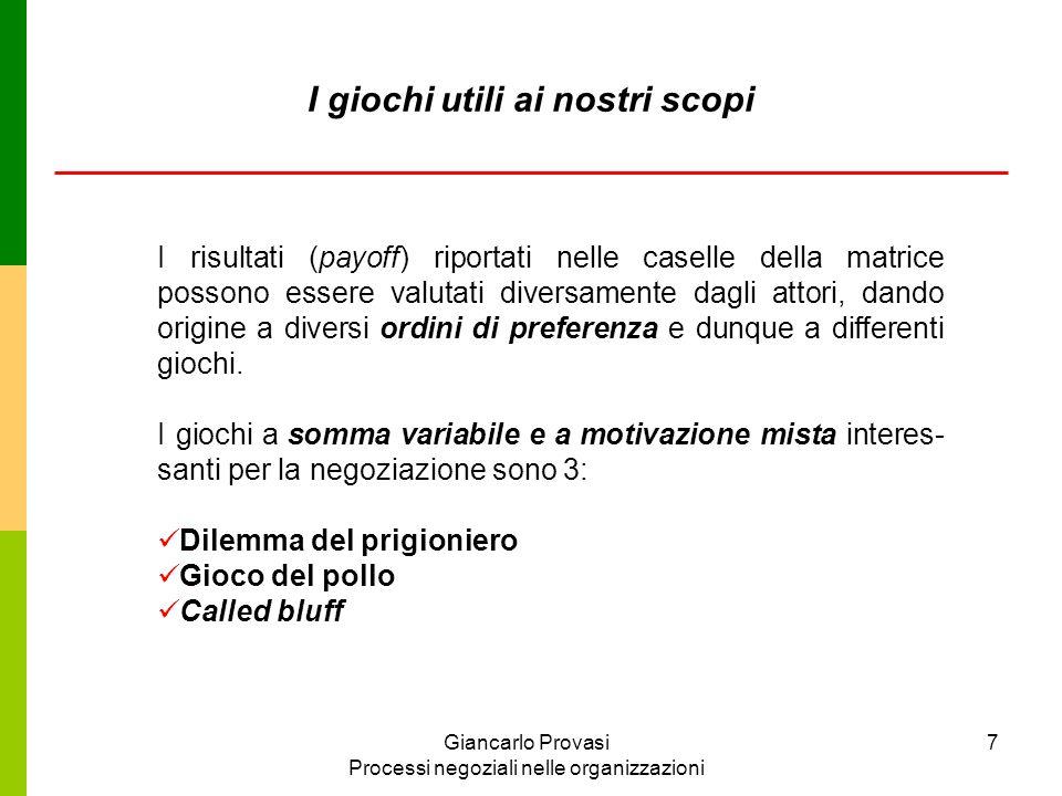 Giancarlo Provasi Processi negoziali nelle organizzazioni 8 B non confessa confessa non confessa -2, -2 - 10, 0 A confessa 0, -10 - 7, -7 Il dilemma del prigioniero
