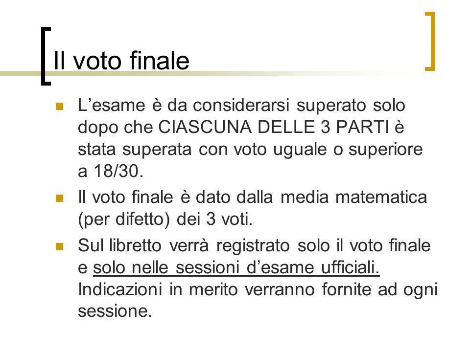 Il voto finale Lesame è da considerarsi superato solo dopo che CIASCUNA DELLE 3 PARTI è stata superata con voto uguale o superiore a 18/30. Il voto fi