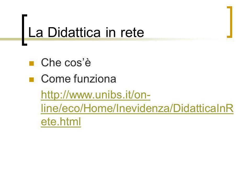 La Didattica in rete Che cosè Come funziona http://www.unibs.it/on- line/eco/Home/Inevidenza/DidatticaInR ete.html